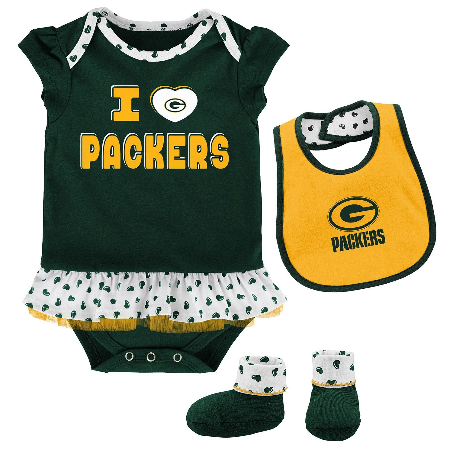 f1bbbeed56d Baby Green Bay Packers Team Love Bodysuit Set