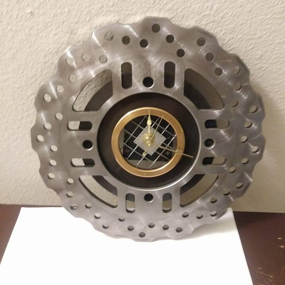 Wall clock made from a motorcycle disc brake rotor, Harley
