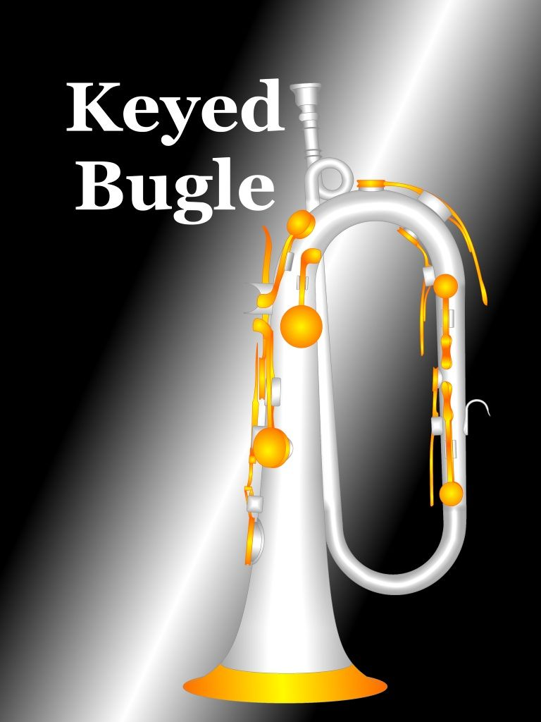 The art work done in the motif of the keyed bugle is exhibited here.