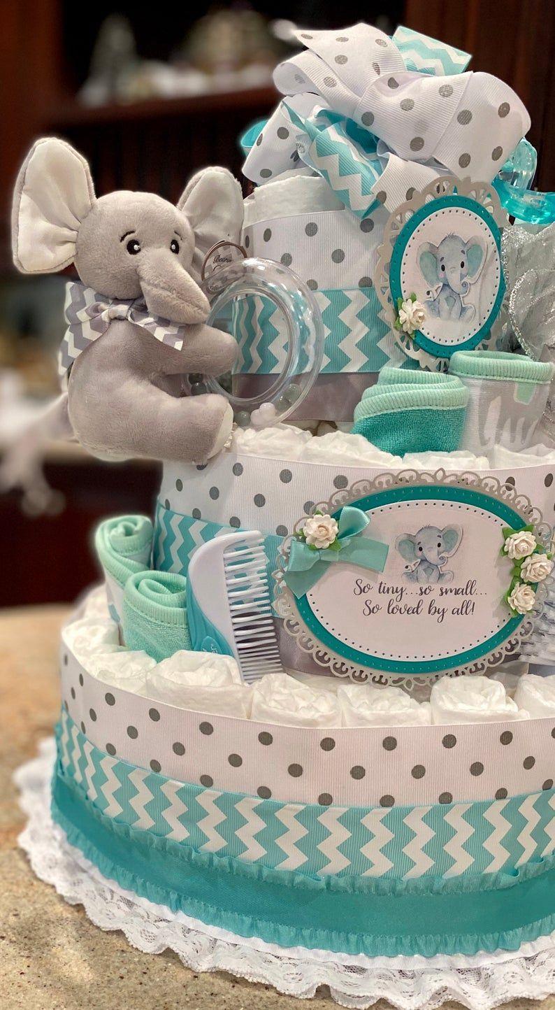 4 Tier Diaper Cake Teal Elephant Diaper Cake Baby Boy ...