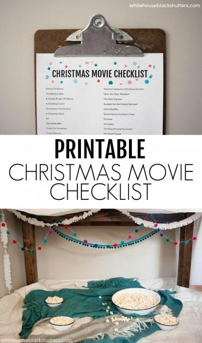 printable Christmas movie checklist