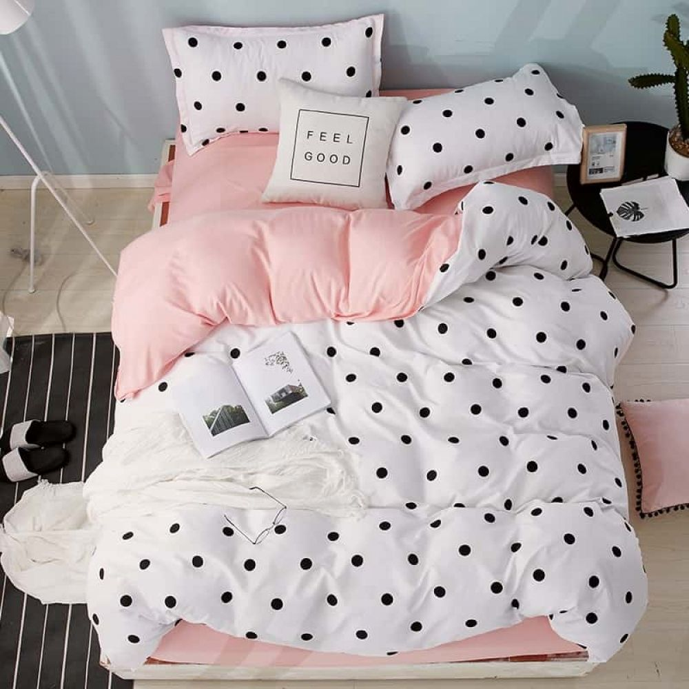 Photo of Home Textile Bedding Sets polka dot pattern bed linens Duvet Cover Set Quilt cover Pillowcase pink cute nordic bed 3/4pcs queen – Flowery Homes
