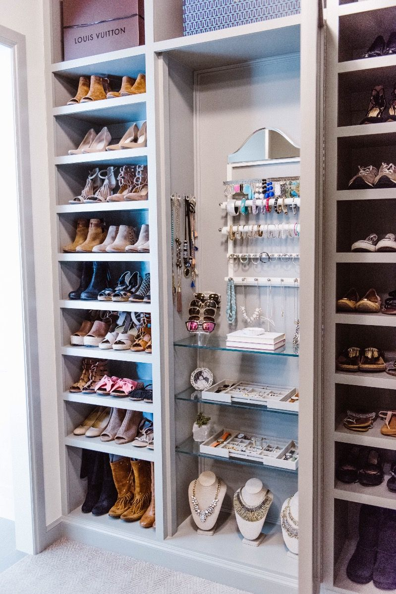 Closet Organization Ideas For Shoes Part - 22: Even Better If The Shoe Shelves Opened To Reveal Another Set Of Shoe  Shelves! (Master Closet Organization Ideas With BeeNeat Organizing Co.