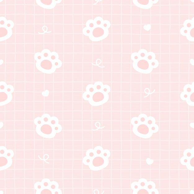 Cute Cat Paws Footprint Seamless Pattern Background