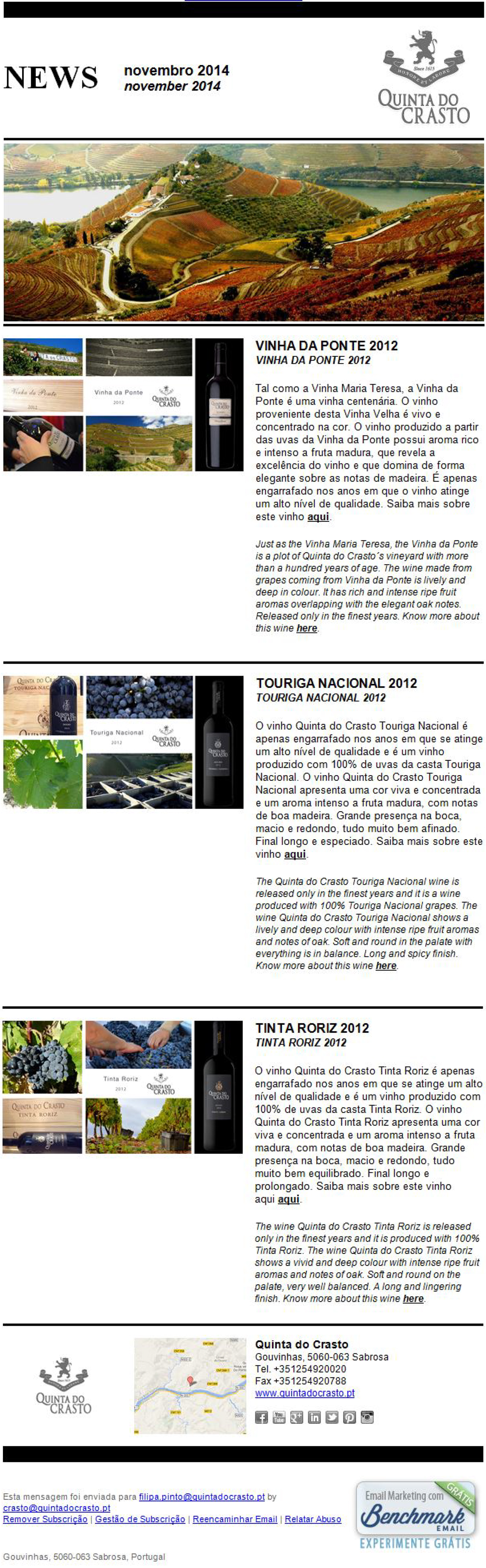 November 2014 - 3 New 2012 Vintages: Vinha da Ponte, Touriga Nacional and Tinta Roriz