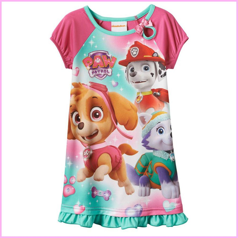 8dd04f6609 Paw Patrol Girl s Pajamas Pyjamas Nightie PJs Skye Everest Marshall +  Stickers