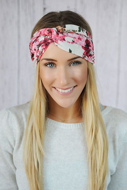 7211ed5b4e4 Ivory Floral Turbans Headband with Pink