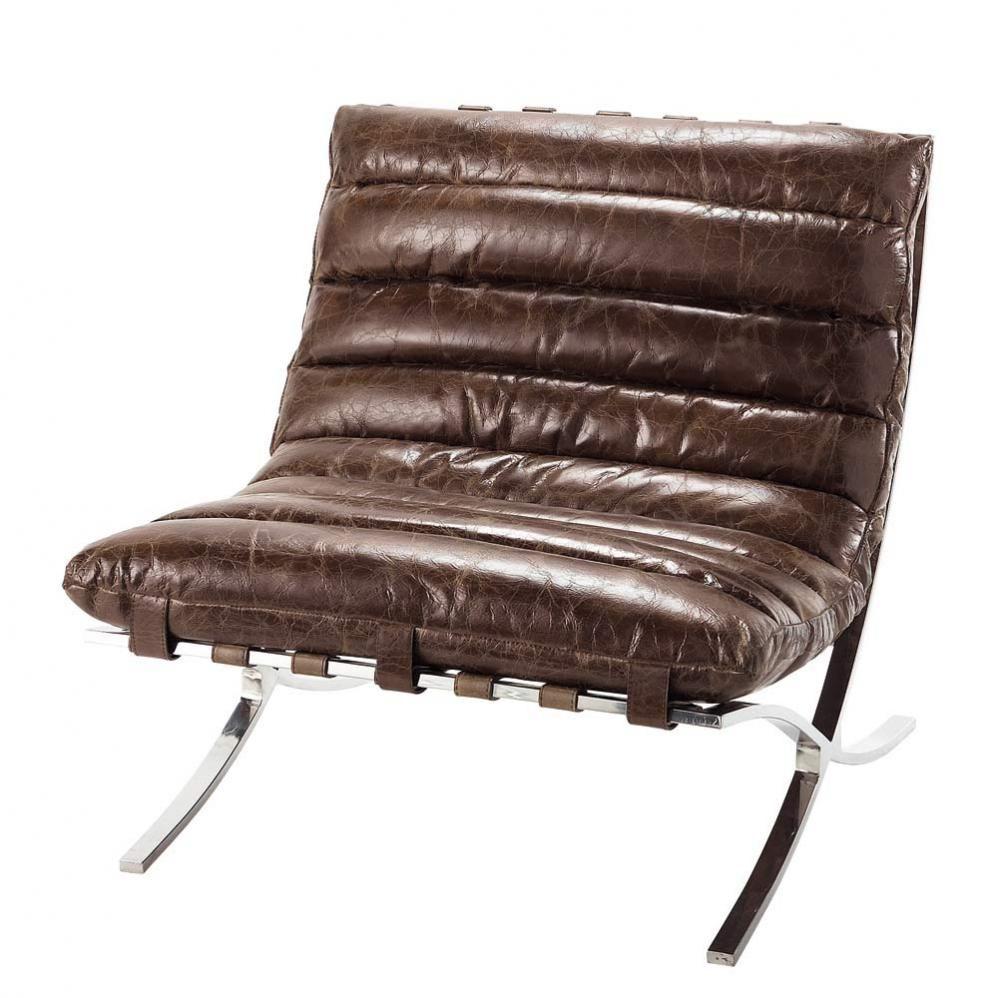 fauteuil en cuir marron effet vieilli beaubourg