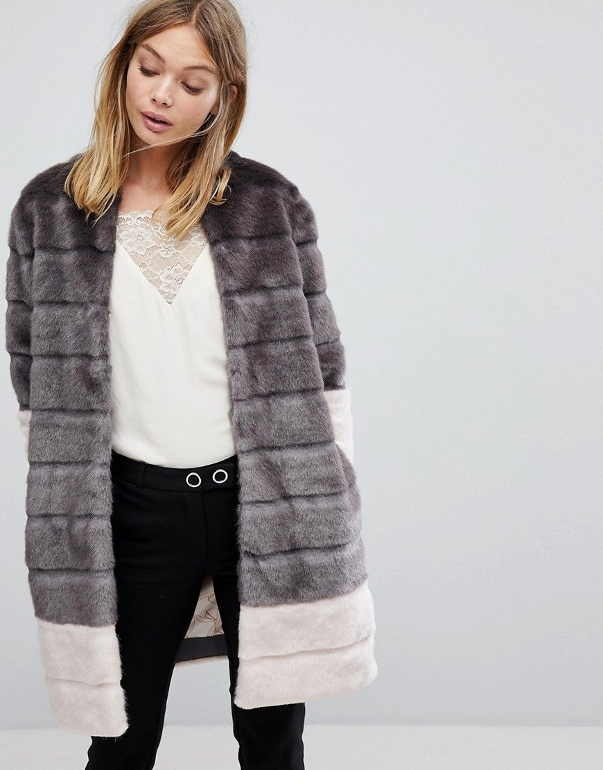 Faux Fur Jacket In Color Block Gray | Bekleidung, Ted
