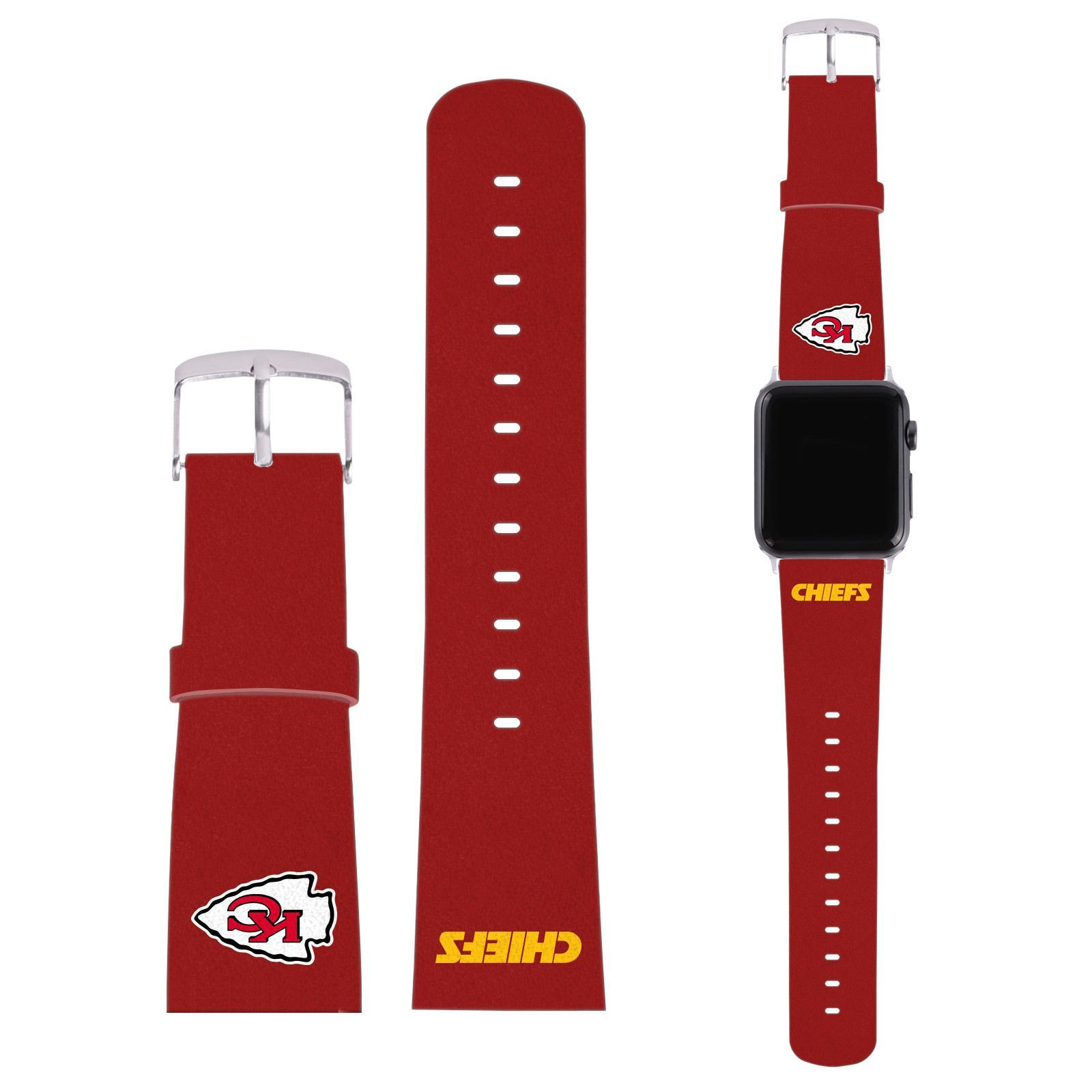 Official Nfl Kansas City Chiefs Logo Red Leather Strap For Apple Watch Sport Apple Watch Sport Oakland Raiders Logo Black Leather Strap