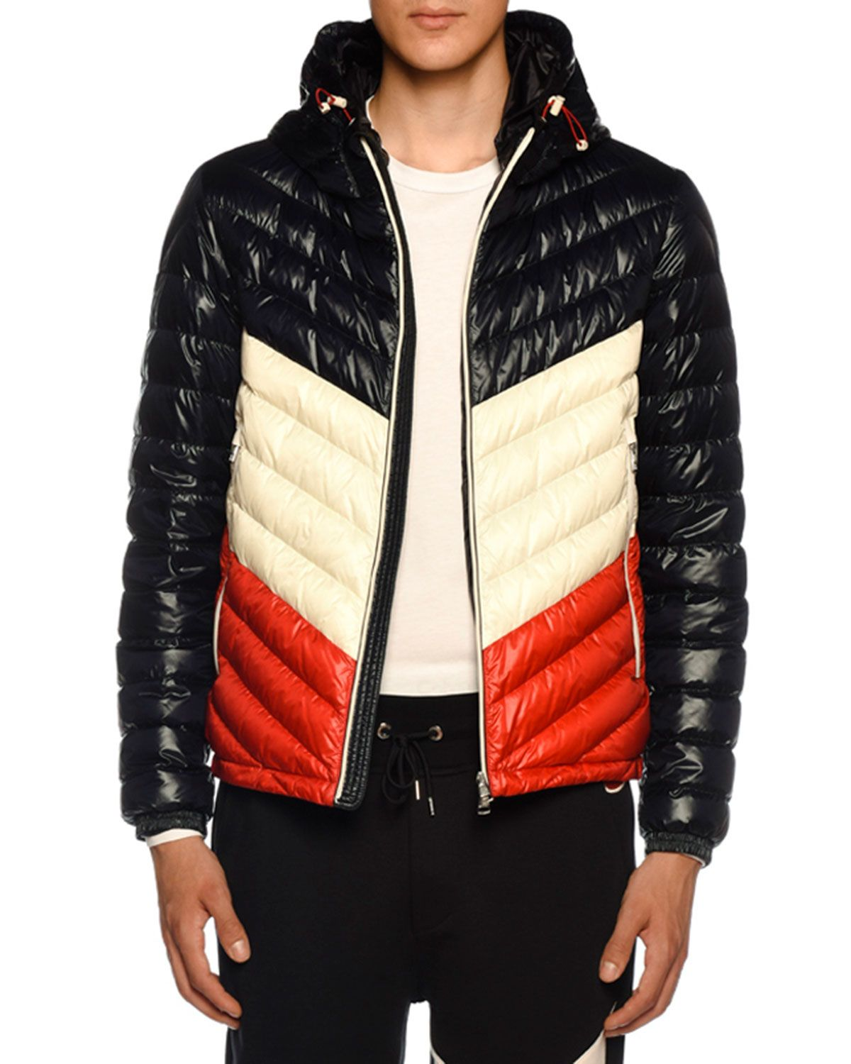 Moncler Palliser Slim Fit Colour Block Quilted Shell Hooded Down Jacket In Blue Modesens Down Jacket Jackets Moncler Jacket [ 1500 x 1200 Pixel ]