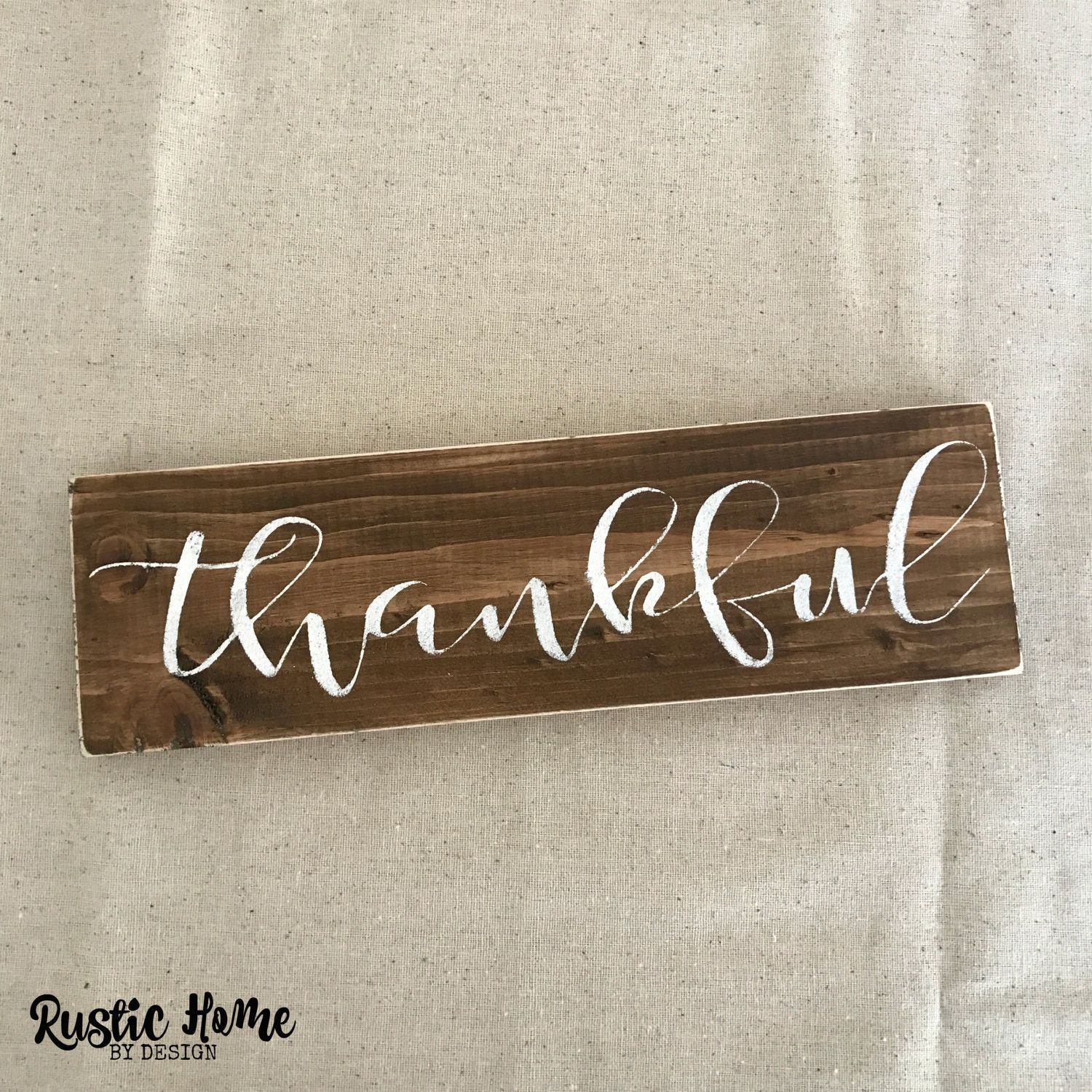 Wall Sign Decor Brilliant Thankful Sign  Thanksgiving Decor  Fall Harvest Decor  Rustic Decorating Design