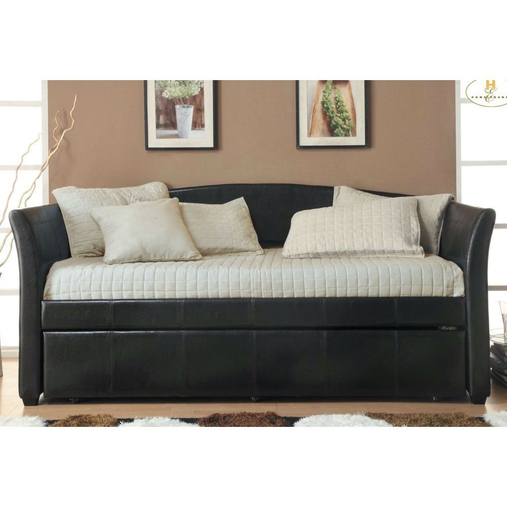 Twin Dark Brown Faux Leather Daybed With Trundle Bed Daybed With