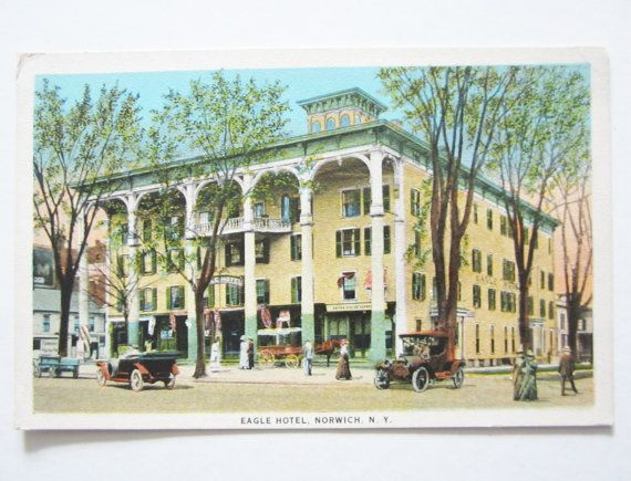 Vintage Eagle Hotel In Norwich N Y Postcard C T American Art Published By Wm Jubb Co