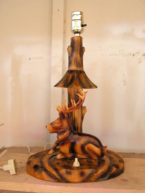 Vintage Black Forest Wood Carving / Carved Wooden Deer Elk Lamp ...