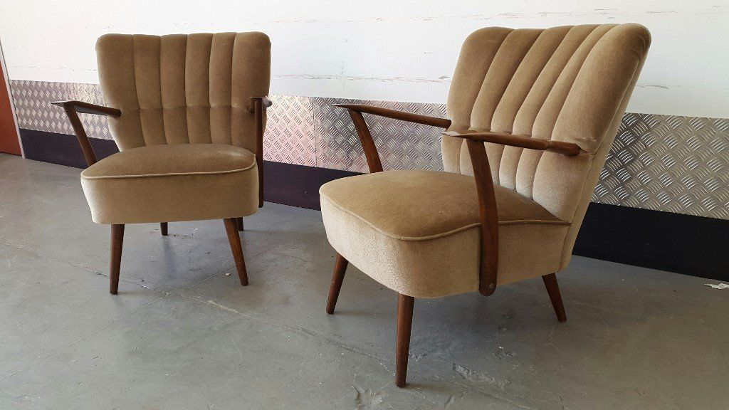 2 x vintage retro armchairs design great condition unique art deco