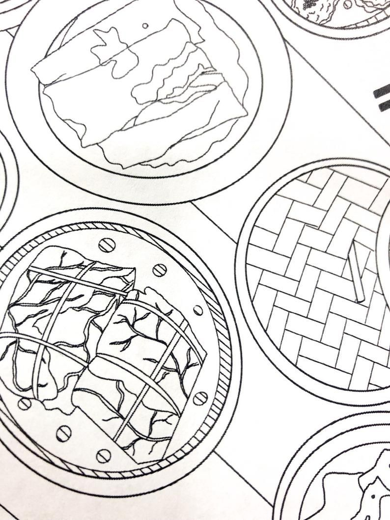 Dim Sum Printable And Downloadable Coloring Page 8 5x11 Etsy Coloring Pages Dim Sum Printable Coloring Pages