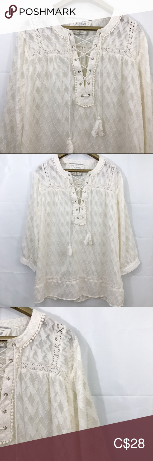 California Moonrise Boho Diamond Pattern Sheer Top