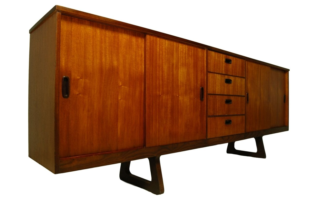 Mid Century Danish Credenza : Very long mid century modern teak danish credenza or media console