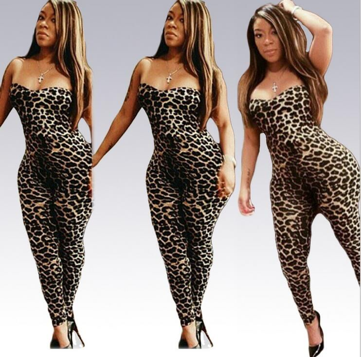 c50a3277b357 Europe New 2016 Sexy big size Overall Rompers Womens Jumpsuit Bra Sexy Club  Party Bodysuit Leopard