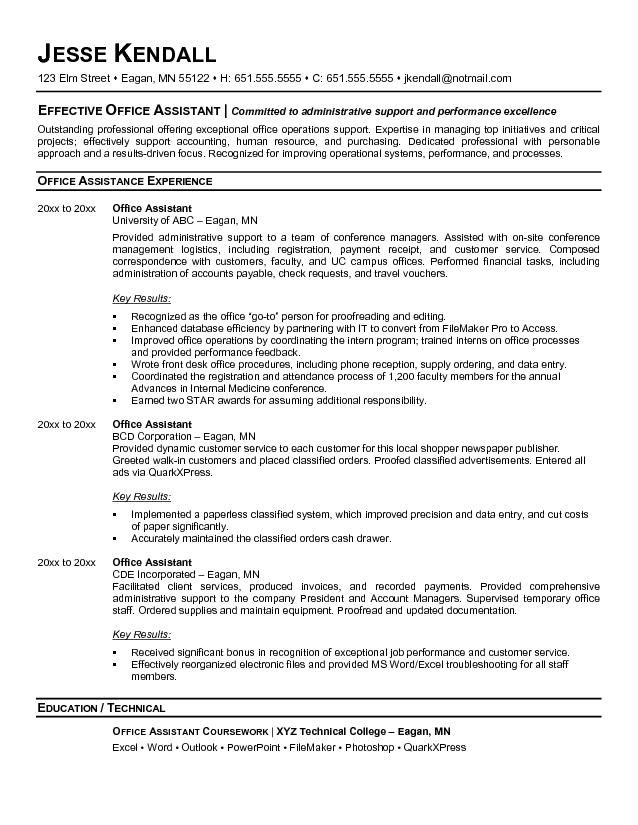 Office Assistant Resume Templates Pleasing Pinjobresume On Resume Career Termplate Free  Pinterest
