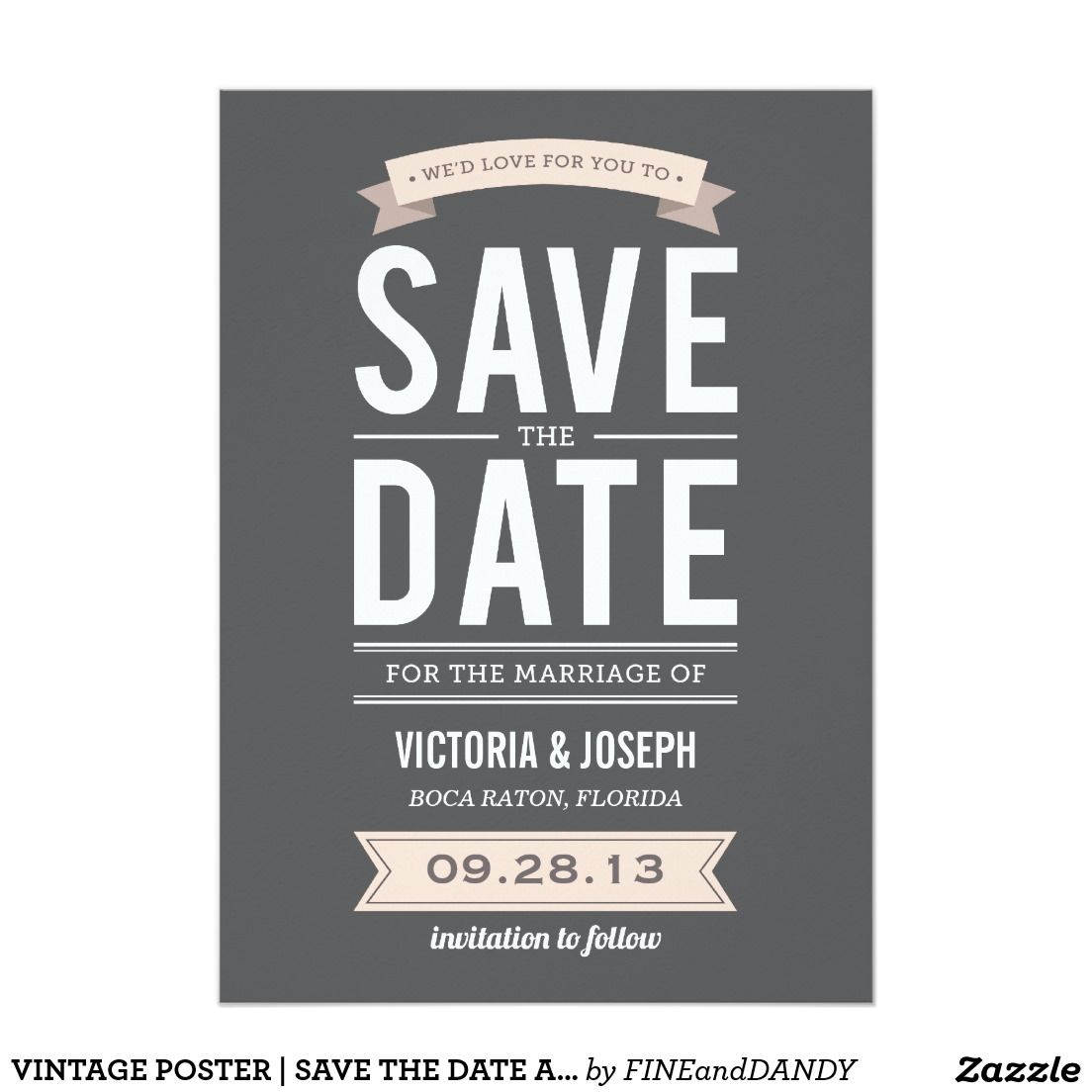 Vintage Poster Save The Date Announcement Zazzle Com In 2021 Save The Date Invitations Wedding Save The Dates Vintage Save The Dates Save the date flyer template