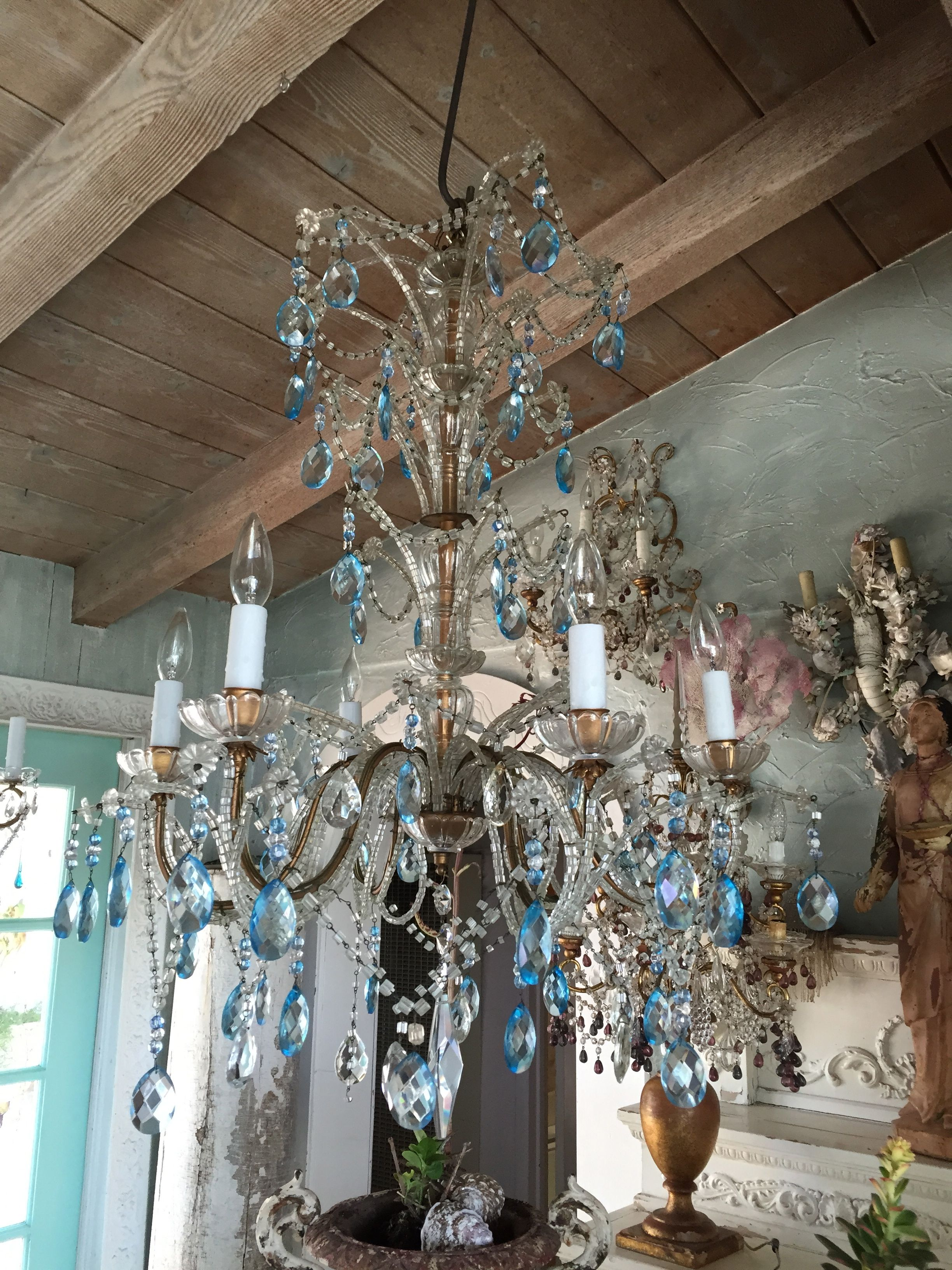 BLUE BEADED CHANDELIER from myparisfleamarket.com | My ...