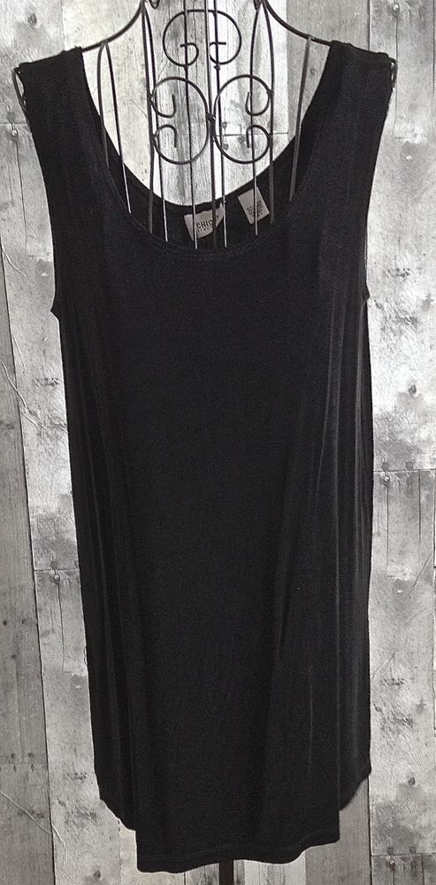 Chicos Travelers Black Stretch Tunic Jersey Tank Top Sleeveless Blouse 1/M 8 #Chicos #Top