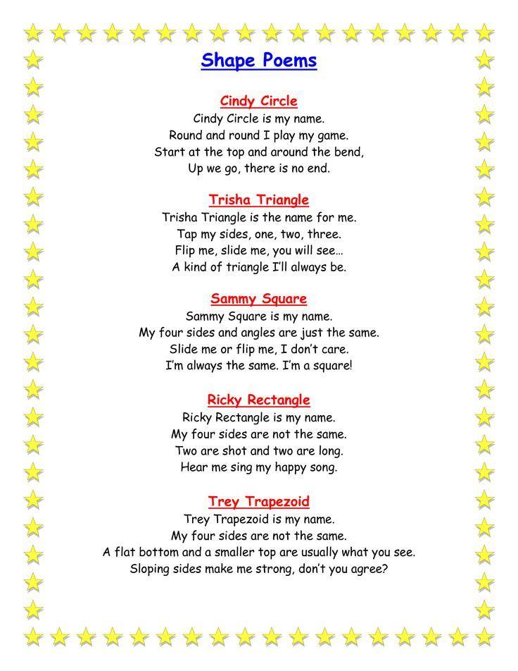 preschool geometric shapes Geometry Shape Poems classroom - geometric sequence example