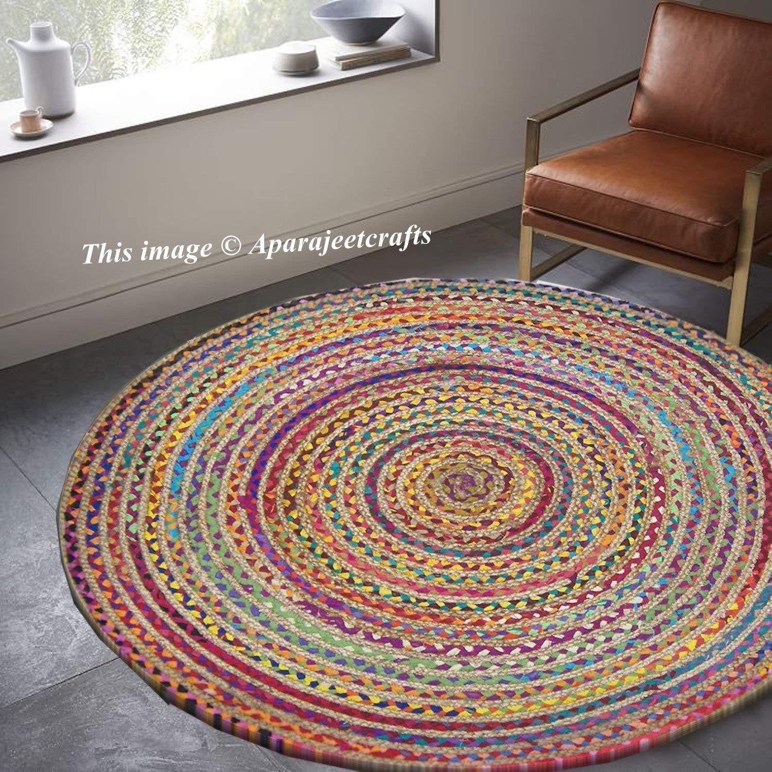 Indian Handmade Hand Braided Bohemian Cotton And Jute Area Rug