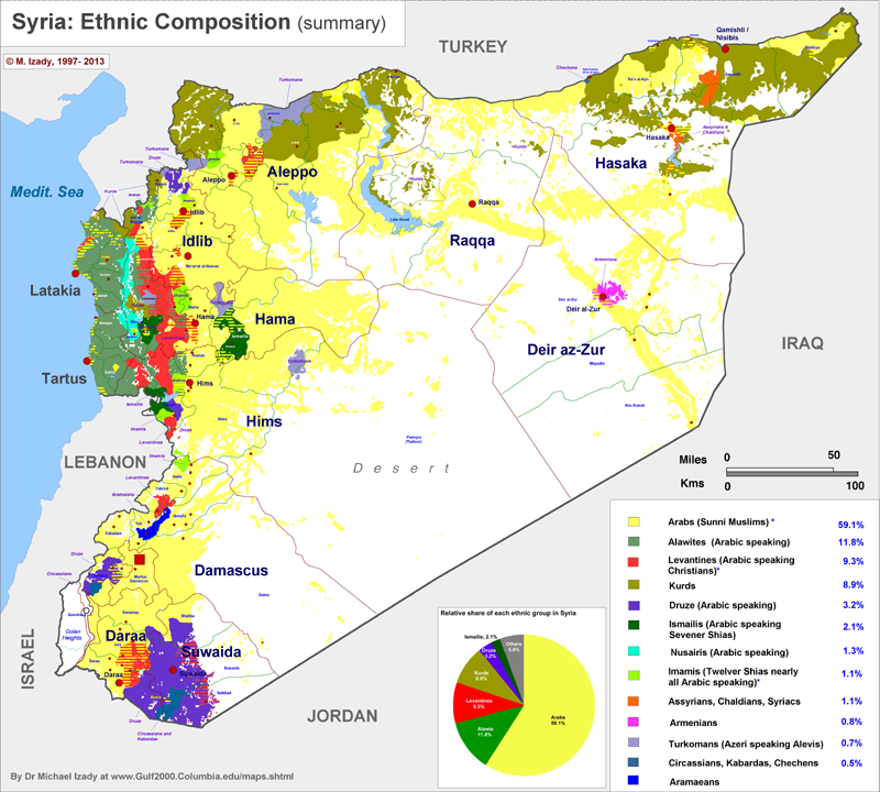 Map of Syrias ethnic distribution Cartophile Pinterest