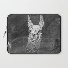 Black White Vintage Funny Llama Animal Art Drawing Laptop Sleeve