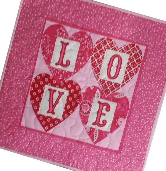 Love Valentine Quilted Wall Hanging or Table by Sieberdesigns