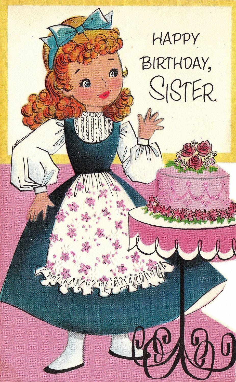 Vintage 1960s die cut happy birthday sister greetings card b46a vintage 1960s die cut happy birthday sister greetings card b46a m4hsunfo