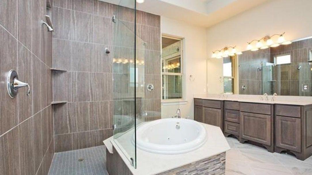 Master bath corner tub wrap around shower | Love Your Space ...