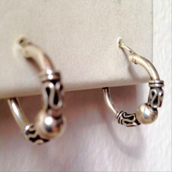 Small sterling silver Balinese hoop earrings Small sterling silver Balinese hoop earrings Jewelry Earrings
