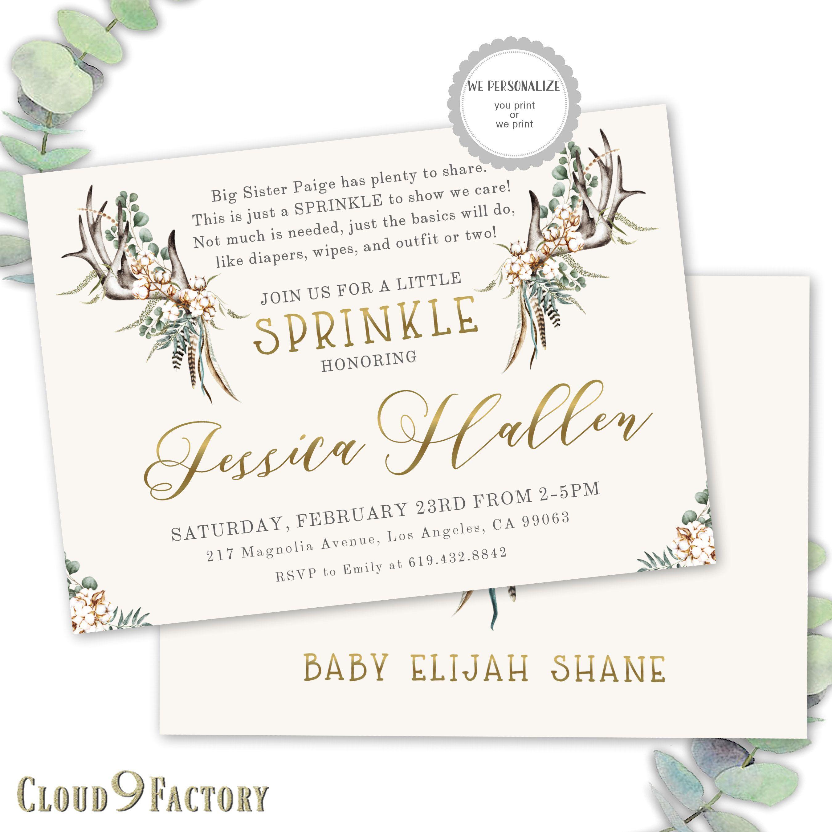 Boy Baby Sprinkle Invitation, Rustic Baby Sprinkle Invite