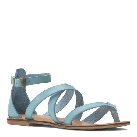 Jessaboo Faux Blue Strappy Suede Flat Sandal | Nine West