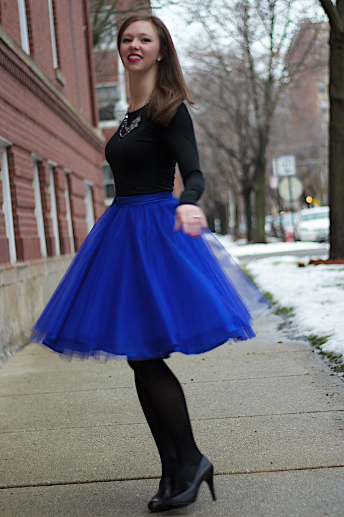 Cobalt Blue Tulle Skirt with Black Long Sleeve Tee #DIY | Wear to ...