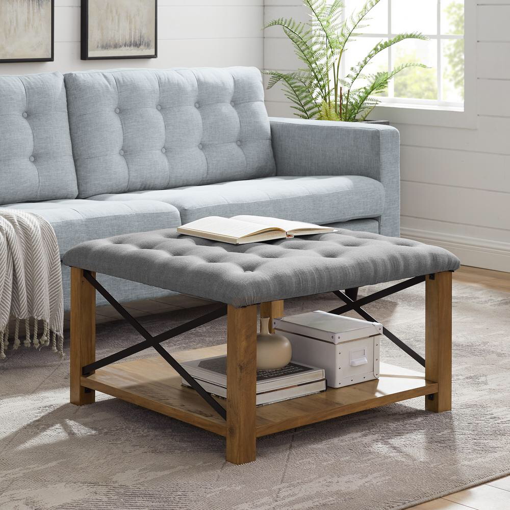 Welwick Designs 30 In Grey Farmhouse Tufted Ottoman Hd831 The Home Depot Tufted Ottoman Coffee Table Ottoman In Living Room Tufted Ottoman [ 1000 x 1000 Pixel ]