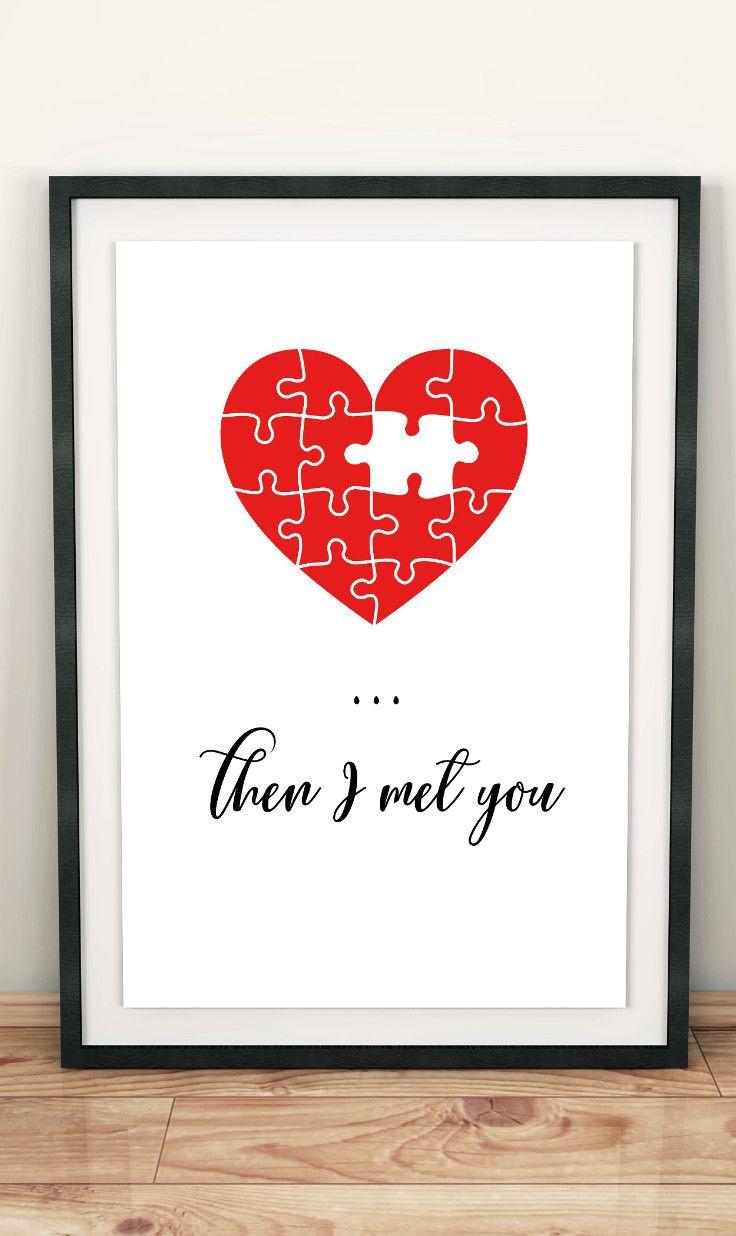 downloadable prints, gift for boyfriend, digital print, then i met