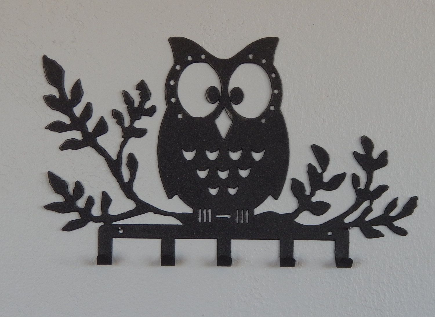 Owl key holder owl wall hook owl decor jewelry hook belt for Collant mural hibou