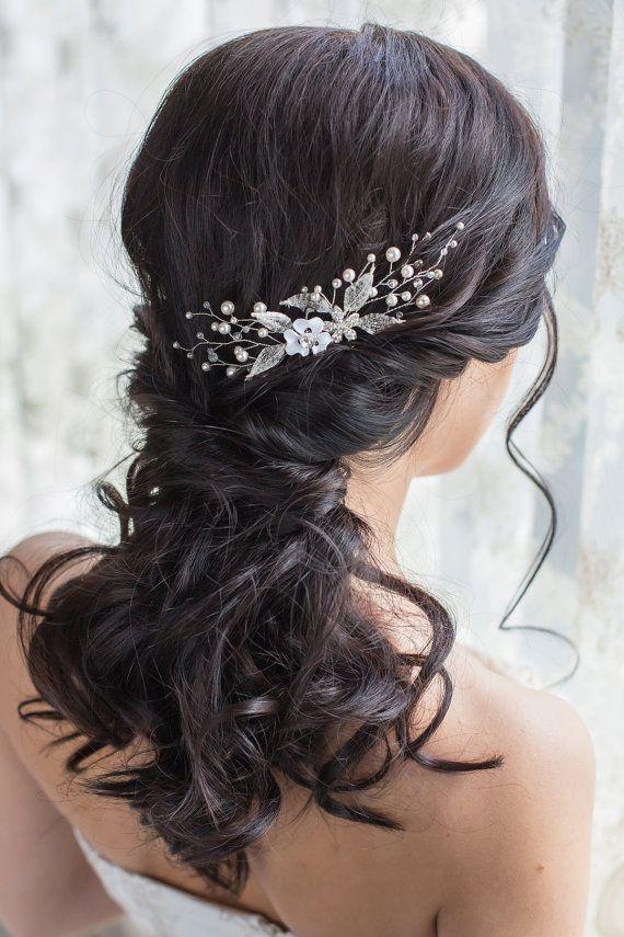 1 Pieza Nupcial Boda Cristal Perla con Flor Elegante Pines de pelo hecho a mano Casco