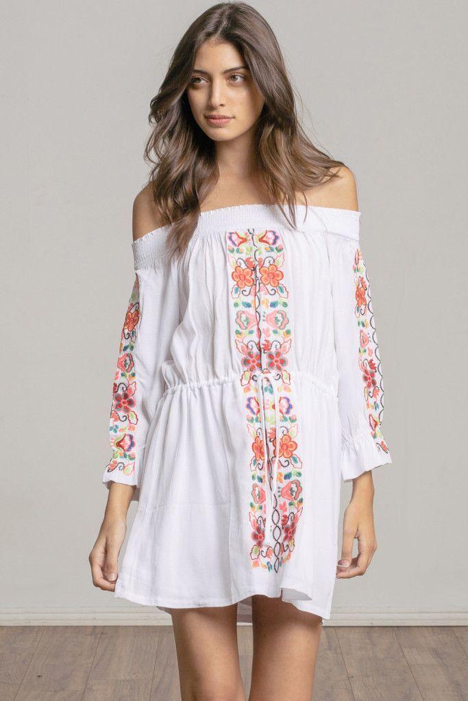 ebf33a9556b8c3 NWT Misa Los Angeles Tabitha White Embroidered Off the Shoulder Mini  Dress-Large