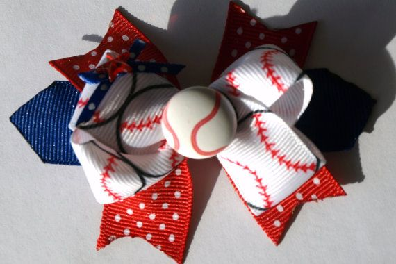 custom colors baseball hair bow by mylittlebows on Etsy, $8.00