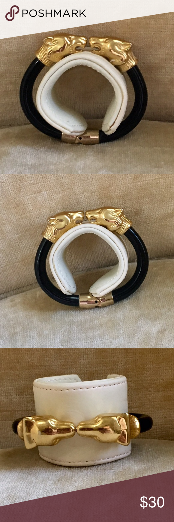 "🎉Sale!Vintage Double Panther Head Bracelet Vintage item from the 1980s This vintage double panther head clamp bracelet in gold tone metal and black lucite. The bracelet measures about 2.55"" (6.5 cm) across the interior and is 0.3"" (0.7 cm) wide. The panther heads part is about 2.4"" (6 cm) long.  The bracelet is in excellent vintage condition. The hinge spring is tight. Jewelry Bracelets"