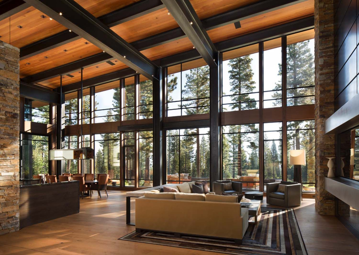 Fabulous mountain modern retreat in the high sierras for Contemporary home interior design