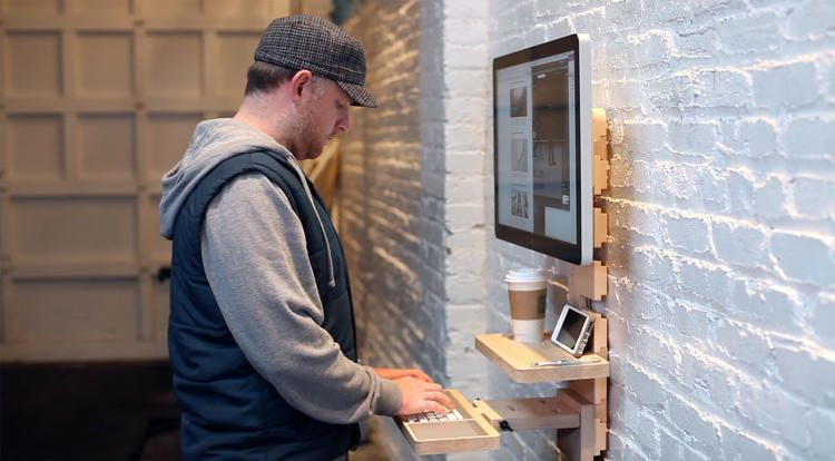 This Wall Mounted Standing Desk Is Perfect For Coffee Shops And Shared Offices