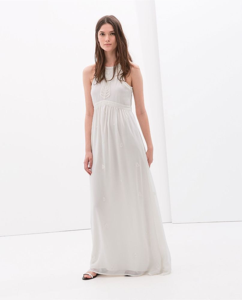 0efec534 NWT ZARA WHITE LONG MAXI WEDDING LONG EMBROIDERED PEARL EMBELLISHED LACE  DRESS S #ZARA #Maxi #Cocktail