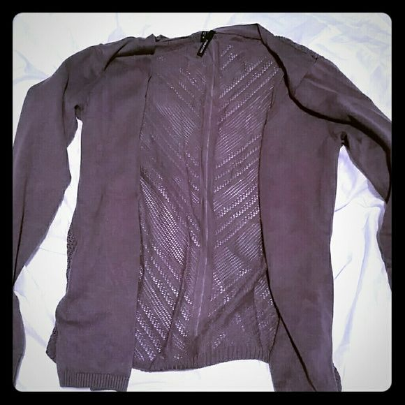 Crochet Back Open Cardigan Great condition with pretty crochet back. Light purple color. Maurices Tops Tunics